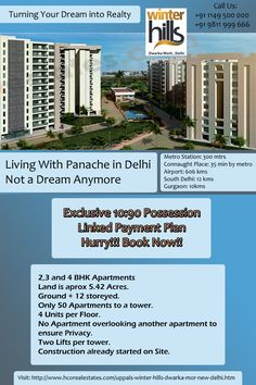 "Umang Realtech provides luxurious property ""Winter Hills"" located in Dwarka Mor, New Delhi. The complex is a modern interpretation of interesting established living at par with international values."