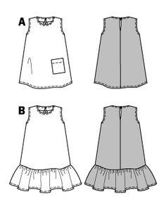 burda style, Schnittmuster für Babys - Ärmelloses Hängerkleid, A mit aufgesetzter Tasche, B mit Saumrüsche