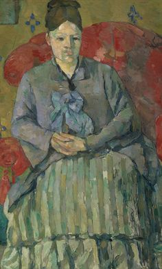 "Madame Cézanne in a Red Armchair (Madame Cézanne in a Striped Dress) by Paul Cézanne circa 1877...from the exhibition ""Madame Cézanne"""