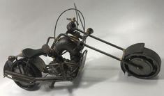 Motorcycle Nuts Bolts Welded Model Art Work Folk Art Sculpture Harley Chopper | Collectibles, Transportation, Motorcycles | eBay!