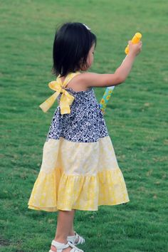 Peaches and Bees: Shirred Summer Dress with Tiered Skirt for Little Momo