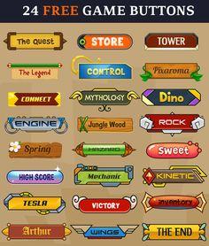 24 free Game Buttons | Pixaroma | http://pixaroma.com/24-game-buttons/