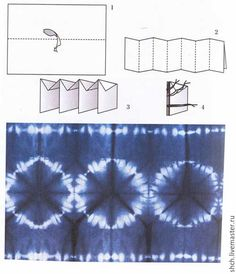 Link shows folding /wrap technique to make this design. (not in English) Tie Dye Folding Techniques, Fabric Dyeing Techniques, Shibori Fabric, Shibori Tie Dye, Diy Tie Dye Shirts, Textile Dyeing, Natural Dye Fabric, Tie Dye Crafts, Textiles