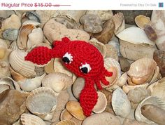 Red Crab  crochet brooch  pin  barrette  by MiracleFromThreads, $12.75