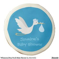Whimsical Boy Stork Baby Shower Sugar Cookie