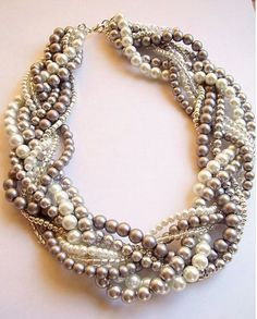 Elisabeth Necklace gray and white statement pearl necklace