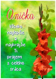 Anička Všetko najlepšie a najkrajšie Ti prajem z celého srdca Birthday Wishes, Cards, Erika, Smoothie, Inspirational, Author, Special Birthday Wishes, Smoothies, Maps