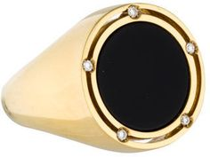 18K Black Onyx and Diamond Signet Ring