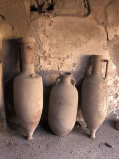 Ancient Wine Clay Vases in a Wine Store Using the Amphora Storage System in Pompeii, Italy