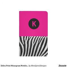 Shop Zazzle's Monogram notebooks. Monogram Notebook, S Monogram, Journal Notebook, Journals, Zebra Print, My Love, Caro Diario, Diaries, Journal Art