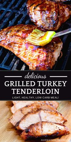 Make sure to fire up the grill as you soak up those last summer days! Your family will be singing your praises as they dig into this Grilled Turkey Tenderloin. Marinated in BBQ sauce and grilled to tender, juicy perfection, this meal is light, healthy, and low-carb! Easy Turkey Recipes, Ground Turkey Recipes, Quick Dinner Recipes, Beef Recipes, Yummy Recipes, Vegan Kitchen, Kitchen Recipes, Turkey Tenderloin, Grilled Turkey