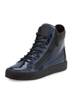Men\'s Patent High-Top Sneaker by Giuseppe Zanotti at Neiman Marcus.