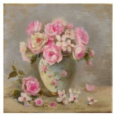 Bouquet of antique roses  Original oil  painting  by HelenFlont, $121.00