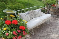 Comfy Romantic white, pink and green! / I could sooooo take a nap here!