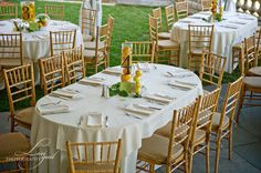 simple lemon centerpieces and table numbers