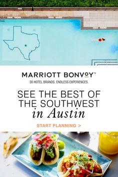 """Look forward to an unforgettable getaway with Marriott Bonvoy™, connecting you with the most memorable places in the Southwest. Including Austin, where you can enjoy live music, eclectic dining and endless outdoor adventures. With a slogan like """"Keep Austin Weird,"""" you know this town is truly one of a kind. Top Hotels, Hotels And Resorts, Family Road Trips, Family Travel, Vacation Destinations, Vacation Spots, Vacation Ideas, Puerto Rican Dishes, Austin Hotels"""
