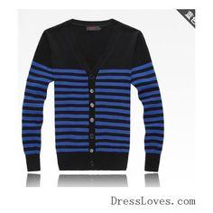 Mens Korean Style Casual Stripe Zipper Designed Red Knitting Cardigan... ($12) via Polyvore