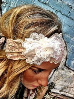 Ivory Stretchy Lace Headband  Cream Vintage by ThreeBirdNest, $28.50