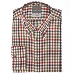 Brown gingham button down collar sport shirt has the perfect balance between sporty and elegant by Thomas Dean.