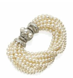 Pearls, diamond and silver bracelet by Rene Boivin Pearl Jewelry, Gold Jewelry, Vintage Jewelry, Fine Jewelry, Jewellery, Vintage Bracelet, Pearl And Lace, Fantasy Jewelry, Cultured Pearls