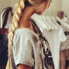 Long, messy braid.