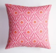 Throw Pillow Cover Floral Diamond in Rose Throw by PersnicketyHome