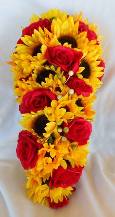 Items similar to Wedding bride cascade bouquet sunflowers and roses red and yellow on Etsy Cascading Bridal Bouquets, Bridal Bouquet Fall, Rose Wedding Bouquet, Cascade Bouquet, Fall Wedding Flowers, Bride Bouquets, Purple Wedding, Wedding Colors, Wedding Ideas