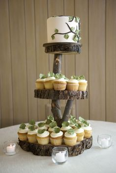 Wedding cupcakes and a cutting cake displayed on wooden tree slices and elevated by tree limbs in a cupcake tower. Love this idea, but I don't like the cupcakes! Wedding Cake Stands, Wedding Cake Rustic, Beautiful Wedding Cakes, Woodland Wedding, Rustic Cake, Rustic Wood, Rustic Cupcake Display, Fall Wedding Cupcakes, Woodland Cake