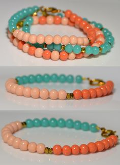 Handmade beaded bracelets - each of the blue, peach and blush beads are handmade to the perfect size and color.