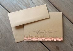 Lace Thank You Card-Rustic Wedding Thank You Card-Spring Wedding Card-Coral Lace Card-Kraft Thank You Card-Bridal Shower Thank You Card- by Lemon Drops & Lilacs on etsy.com