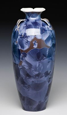 unique, crystalline glazed porcelain vase