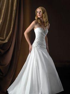 A-Line Sweetheart Embroidery Beading Sleeveless Taffeta Chapel Train Wedding Dress