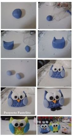 Cupcakes decoration fondant step by step clay 37 ideas Polymer Clay Projects, Diy Clay, Owl Cakes, Fondant Animals, Fondant Decorations, Polymer Clay Animals, Fondant Toppers, Fondant Cupcakes, Cupcake Toppers