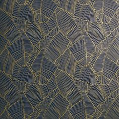 palm navy and gold self-adhesive wallpaper | CB2