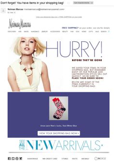"""NeimanMarcus has designed a perfect reminder email for abandoned cart shoppers. The email subject line """"Don't forget! You have items in your shopping bag!"""" is informative and concise. The copy too conveys urgency while showcasing new arrivals; the email is simple yet effective"""
