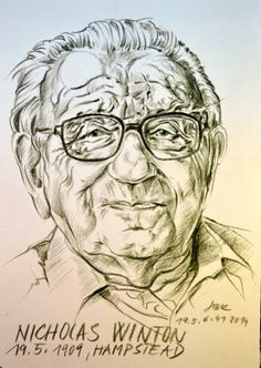 Sir Nicholas Winton by Czech artist Jana Bačová Kroftová on the occasion of Sir Nick's 105th birthday May 19th, 2014.  Sir Nicholas is known for saving at least 669 children from the Holocaust and is sometimes called the British Schindler. Young Czech artist Jana Bačová Kroftová dedicated this picture to him. Czech Republic President Milos Zeman announced that Sir Nicholas Winton will be honored with his country's highest decoration, the Order of the White Lion.