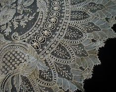 ATQ ROSE Point de Gaze Needle Lace Bride Wedding Veil Shawl BEST LG RARE Hand W