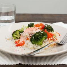 Zalm, broccoli en gebakken rijst