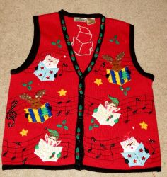 Woman's Ugly Christmas Sweater Vest - In Resource - Size Large - Singing Santa