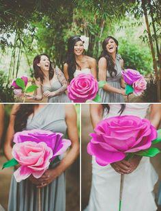 Decoración y Detalle: Ramo de novia original y único. Una rosa de papel ...