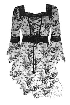 Dare To Wear Victorian Gothic Renaissance Corset Top Winter's Tale: black and white