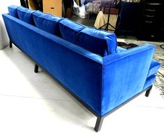Harvey Probber Shelter Style Sofa in Cerulean Blue Velvet | From a unique collection of antique and modern sofas at https://www.1stdibs.com/furniture/seating/sofas/