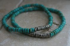 Summer Turquoise and Silver heishi bead braclets  pair of by kisii