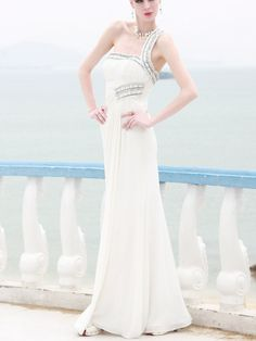 Modest Slimming White One Shoulder Long Evening Gown