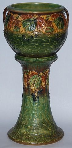 Roseville Pottery Blackberry Jardiniere and Pedestal