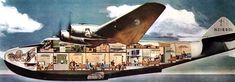 Cutaway of the Boeing 314 Clipper used first on PamAm's 5-day SF-Hong Kong route in 1939. Carried 36 passengers—with bunks, dressing rooms + sit-down dining.