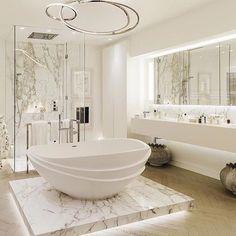 Home Design: awesome 25 Luxurious Marble Bathroom Design Ideas . Bathroom Design Luxury, Modern Bathroom, Home Interior Design, Bath Design, Bathroom Marble, Bathroom Cabinets, White Bathroom, Luxury Interior, Bathroom Mirrors