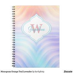 Monogram Orange Teal Lavender Spiral Notebook