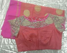 peach kota sarees with gold applic work on blouse
