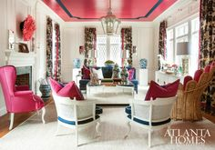 Loving the hot pink ceiling in our living room show house in Atlanta.